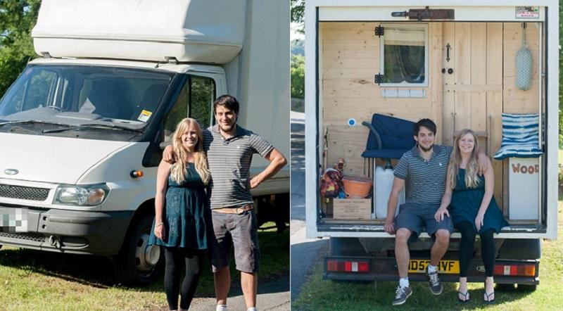 Jauns pāris apmetās uz dzīvi vecā treilerī, pārvēršot to par vienistabas dzīvokli