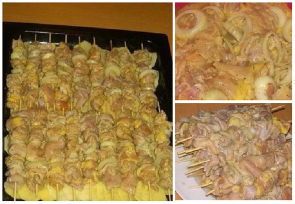 Cepeškrāsnī pagatavots marinēts vistas gaļas šašliks ar kartupeļiem. Ļoti gardi!