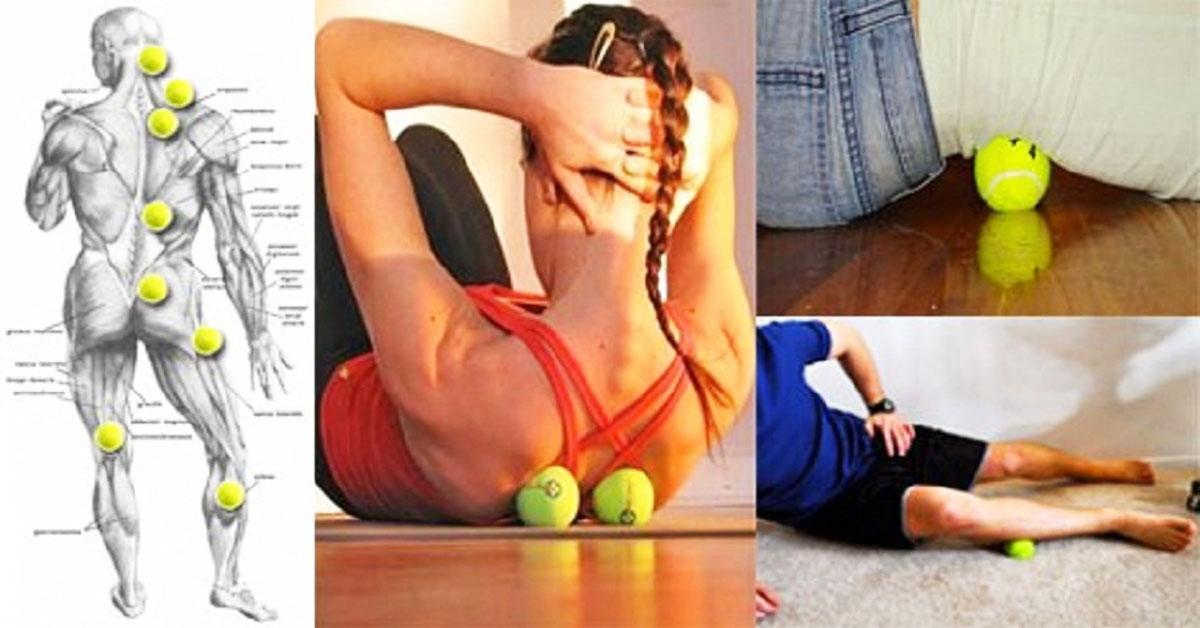 Šis paņēmiens ar tenisa bumbiņu atbrīvos jūs no sāpēm mugurā, sprandā, plecos, rokās un ceļos vien minūtes laikā