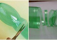 Sagrieziet plastikāta pudeli strēmelītēs un pagatavojiet praktisku lietu mājai vai dārzam