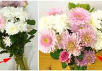 Vienkāršs triks, kurš palīdzēs skaisti un vienmērīgi sakārtot ziedus vāzē