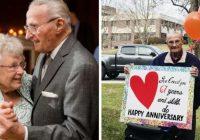 Karantīna neapturēja vīrieti apsveikt savu mīļoto sievieti 67. kāzu gadadienā